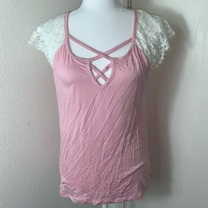 No Boundaries Pink Top W/ Lace Sleeve. Size L